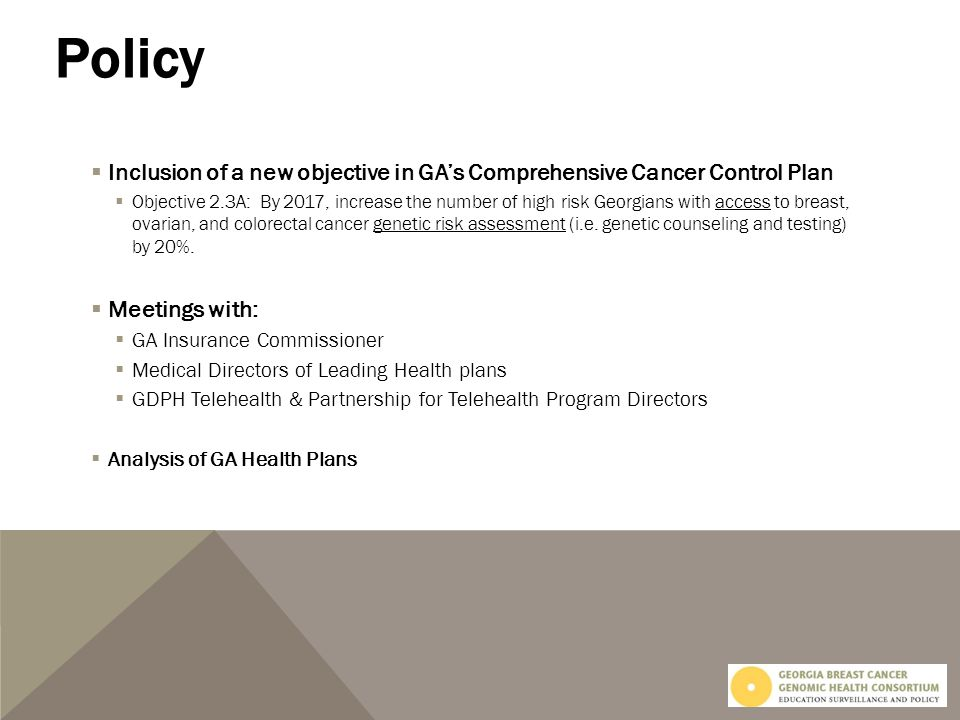 Inclusion of a new objective in GAs Comprehensive Cancer Control Plan Objective 2.3A: By 2017, increase the number of high risk Georgians with access