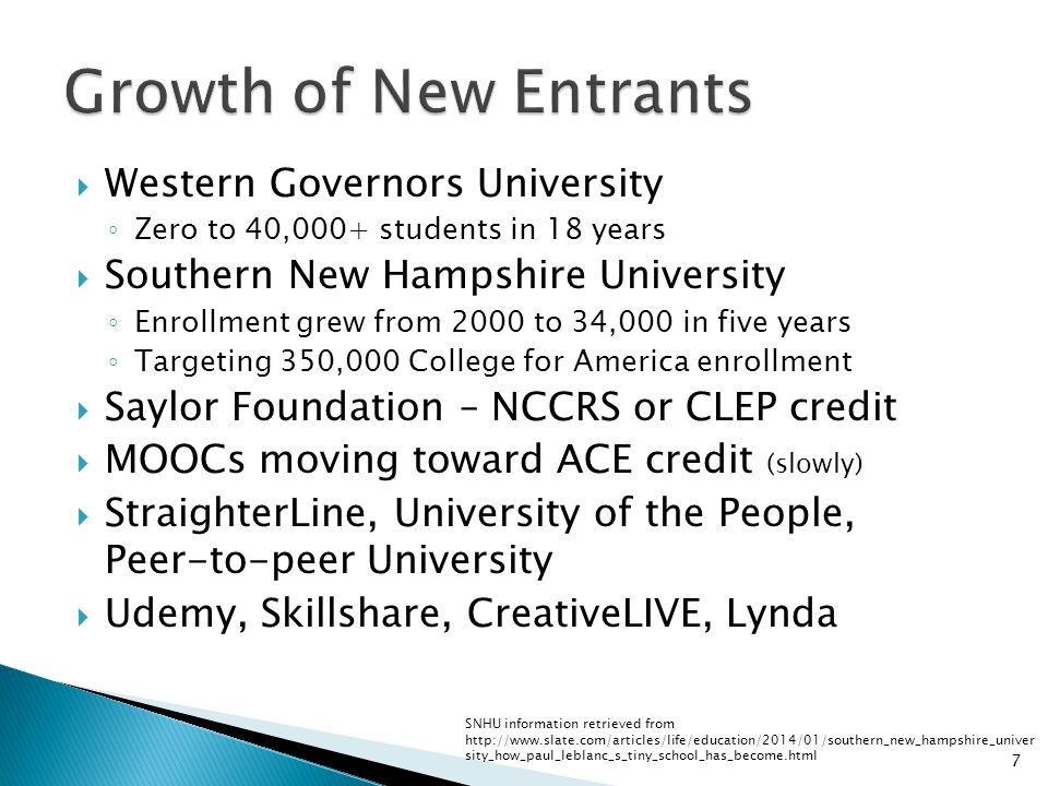 Western Governors University Zero to 40,000+ students in 18 years Southern New Hampshire University Enrollment grew from 2000 to 34,000 in five years