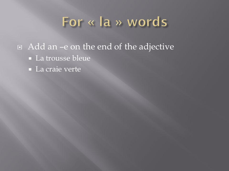 Add an –e on the end of the adjective La trousse bleue La craie verte
