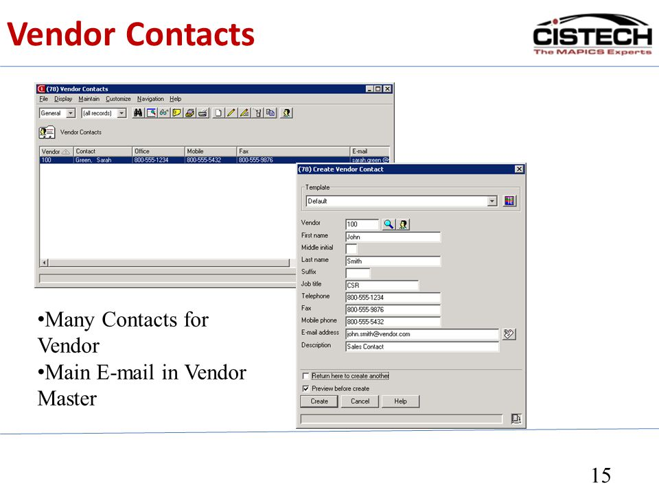 15 Many Contacts for Vendor Main E-mail in Vendor Master