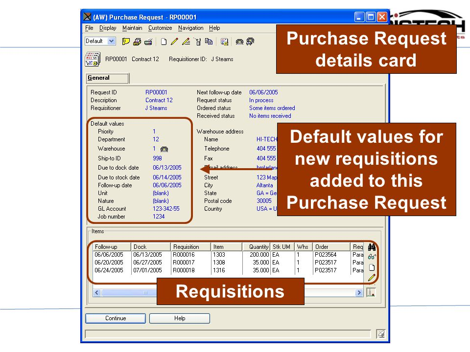Purchase Request details card Default values for new requisitions added to this Purchase Request Requisitions