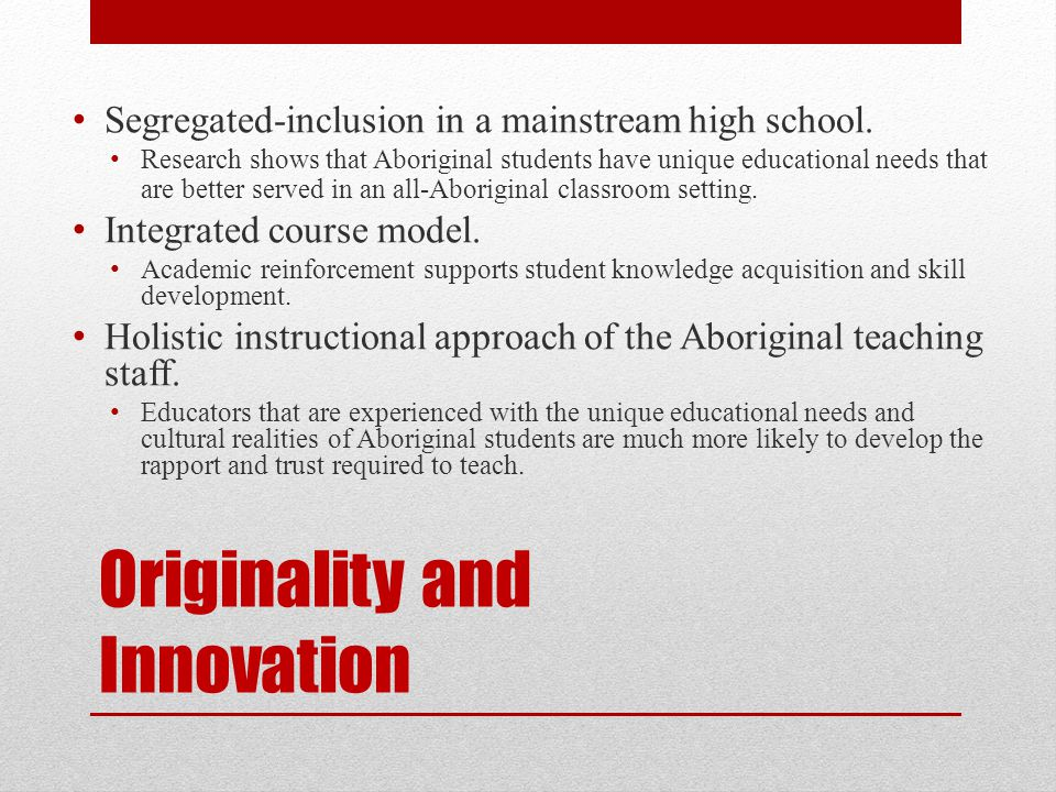 Originality and Innovation Segregated-inclusion in a mainstream high school.