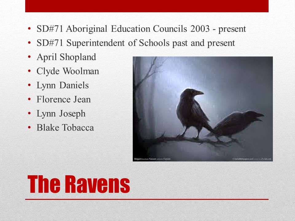 The Ravens SD#71 Aboriginal Education Councils 2003 - present SD#71 Superintendent of Schools past and present April Shopland Clyde Woolman Lynn Daniels Florence Jean Lynn Joseph Blake Tobacca
