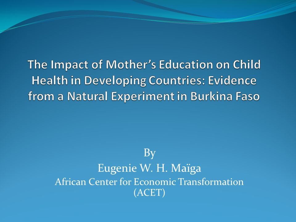 By Eugenie W. H. Maïga African Center for Economic Transformation (ACET)
