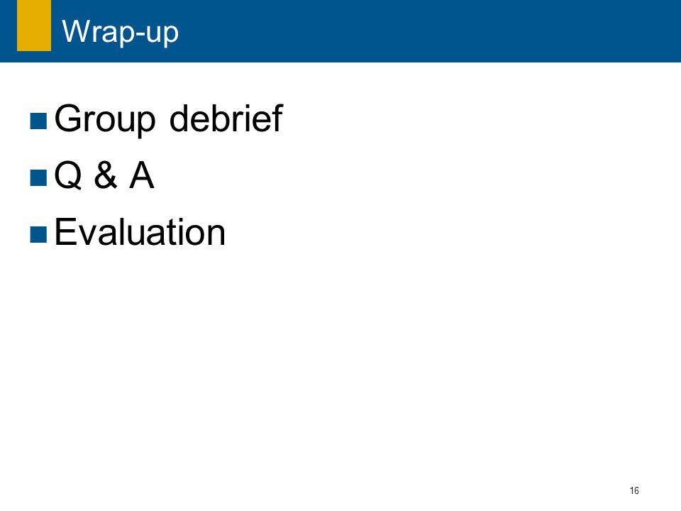 16 Wrap-up Group debrief Q & A Evaluation