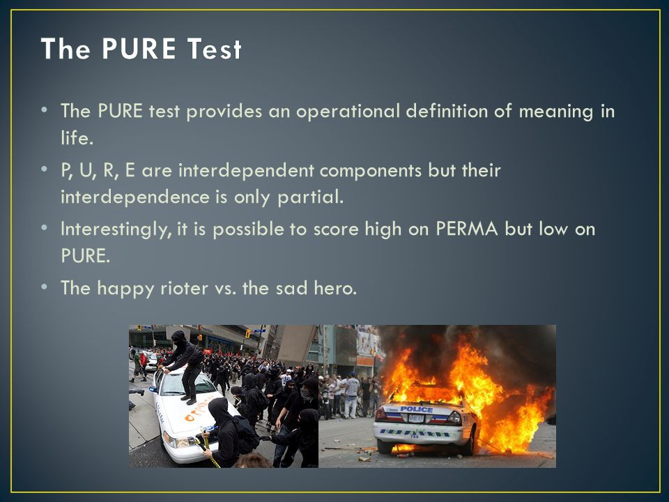 The PURE test provides an operational definition of meaning in life.
