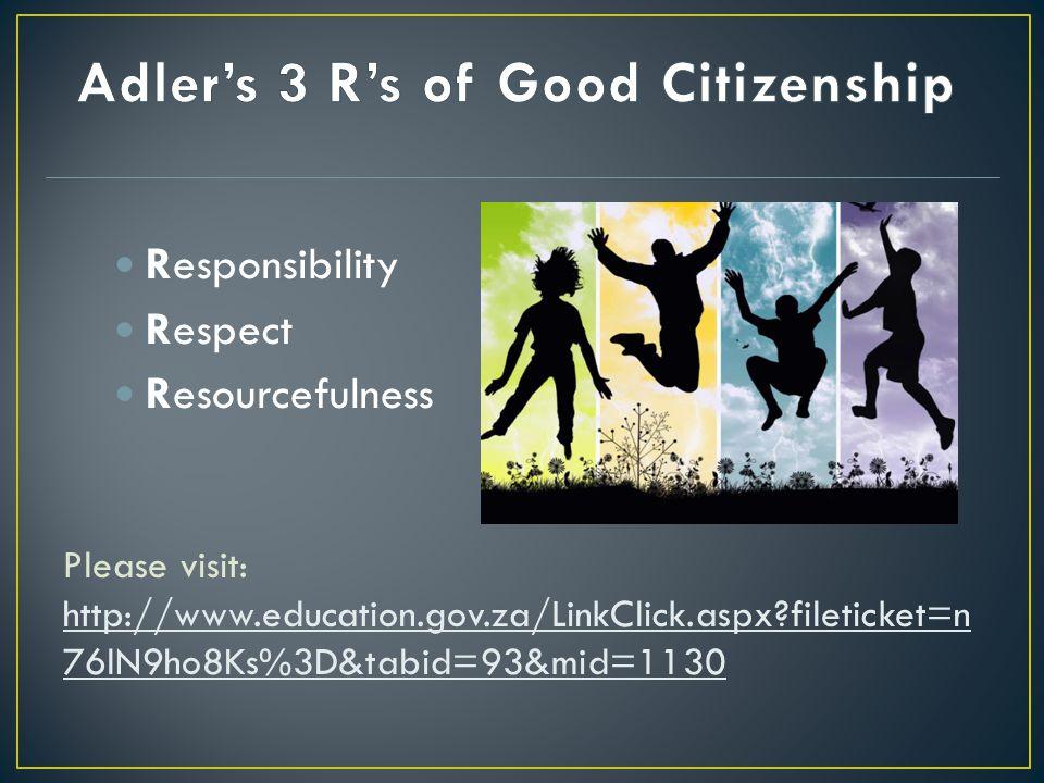 Please visit: http://www.education.gov.za/LinkClick.aspx fileticket=n 76lN9ho8Ks%3D&tabid=93&mid=1130 Responsibility Respect Resourcefulness