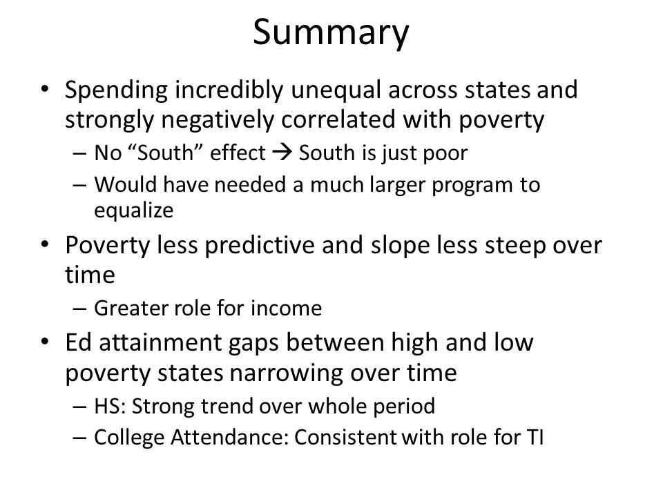 Summary Spending incredibly unequal across states and strongly negatively correlated with poverty – No South effect South is just poor – Would have ne