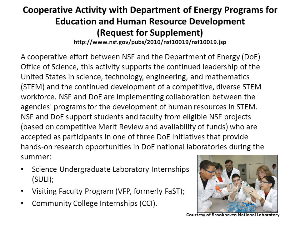Cooperative Activity with Department of Energy Programs for Education and Human Resource Development (Request for Supplement) http://www.nsf.gov/pubs/2010/nsf10019/nsf10019.jsp Science Undergraduate Laboratory Internships (SULI); Visiting Faculty Program (VFP, formerly FaST); Community College Internships (CCI).