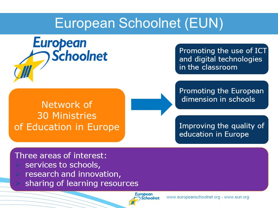 www.europeanschoolnet.org - www.eun.org Results On the dissemination channels to reach each target audience Most project managers recognise that the way project outcomes are communicated is adapted for different stakeholders.