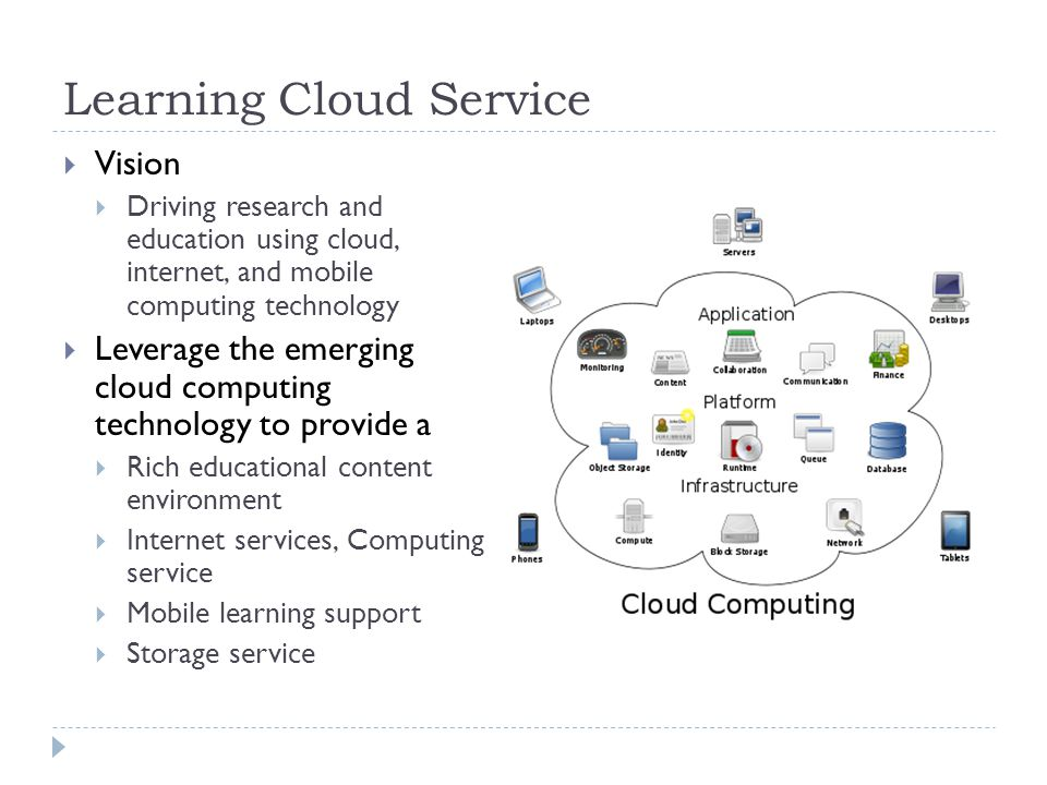 Learning Cloud Service Vision Driving research and education using cloud, internet, and mobile computing technology Leverage the emerging cloud computing technology to provide a Rich educational content environment Internet services, Computing service Mobile learning support Storage service