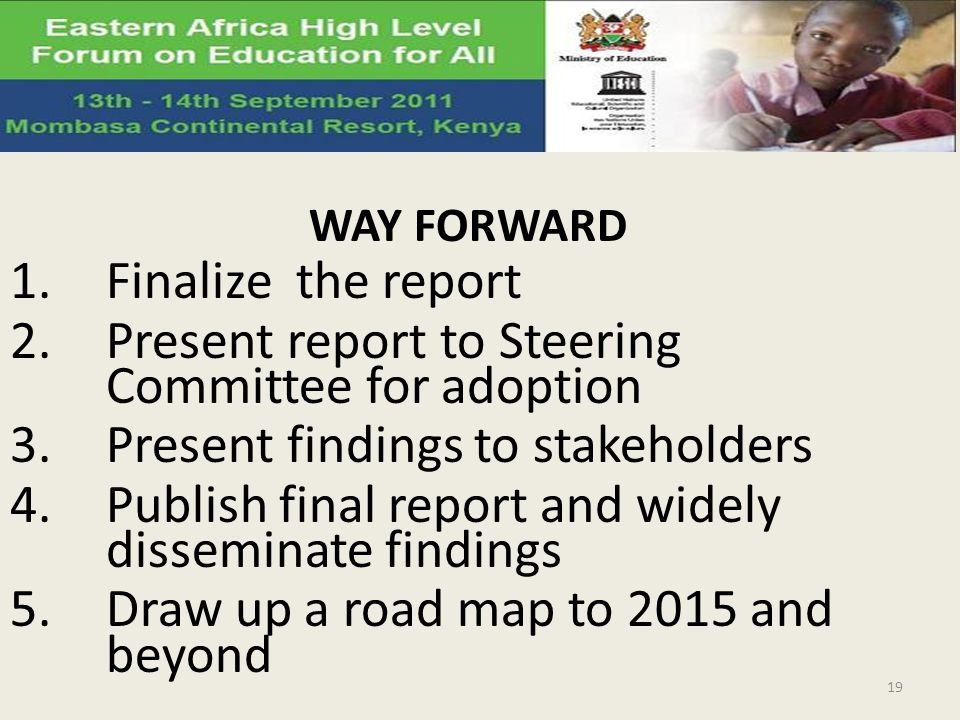 WAY FORWARD 1.Finalize the report 2.Present report to Steering Committee for adoption 3.Present findings to stakeholders 4.Publish final report and widely disseminate findings 5.Draw up a road map to 2015 and beyond 19