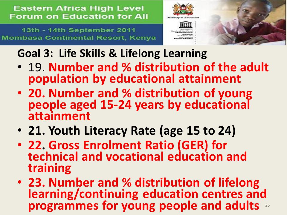 Goal 3: Life Skills & Lifelong Learning 19. Number and % distribution of the adult population by educational attainment 20. Number and % distribution