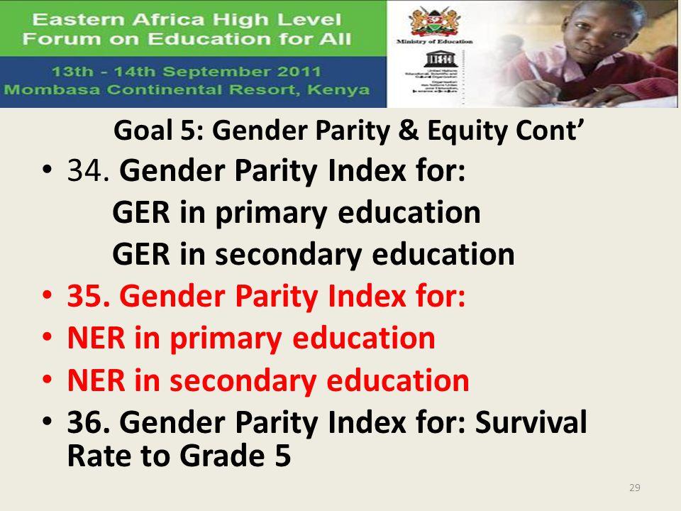 Goal 5: Gender Parity & Equity Cont 34.