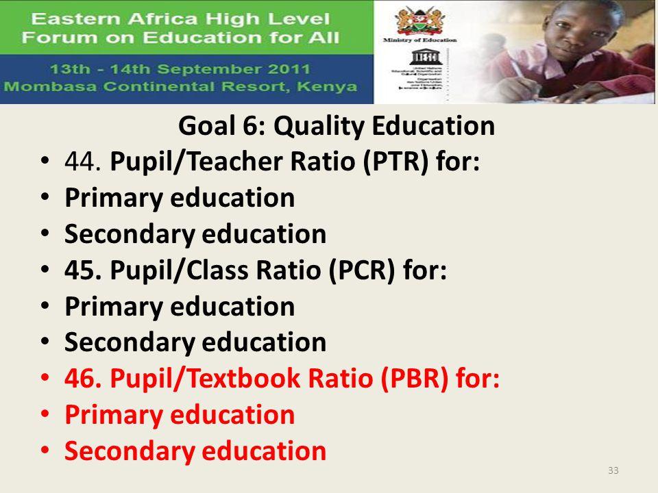 Goal 6: Quality Education 44. Pupil/Teacher Ratio (PTR) for: Primary education Secondary education 45. Pupil/Class Ratio (PCR) for: Primary education