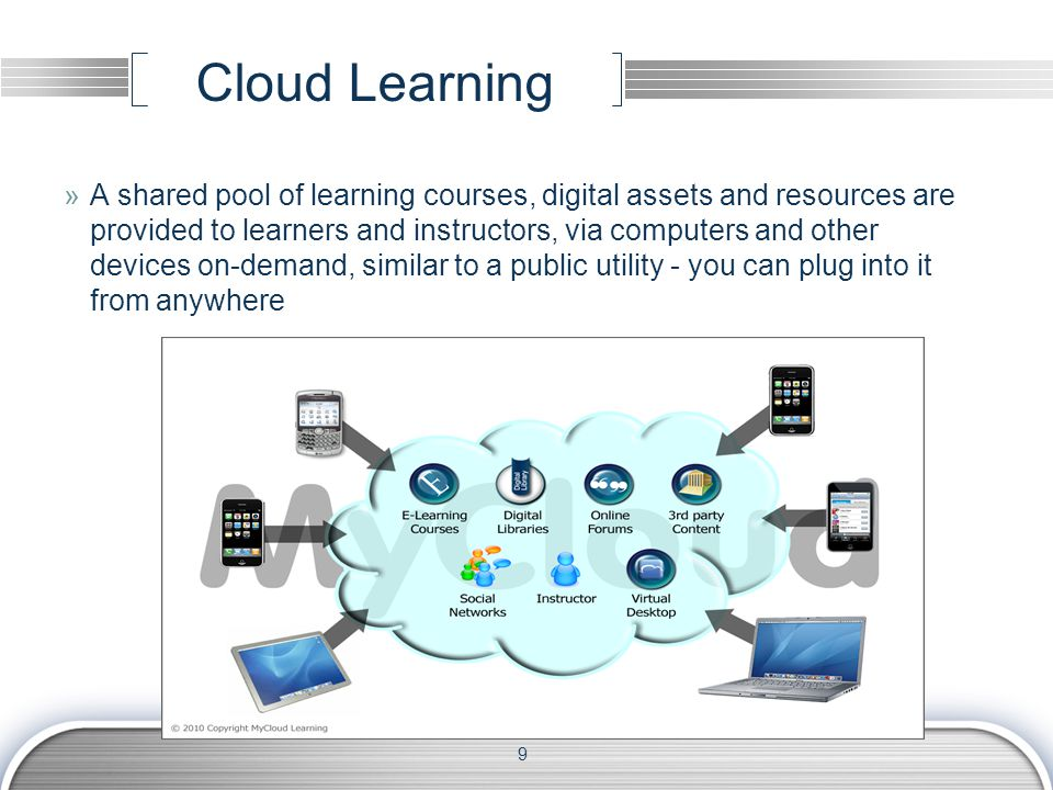 Cloud Learning »A shared pool of learning courses, digital assets and resources are provided to learners and instructors, via computers and other devices on-demand, similar to a public utility - you can plug into it from anywhere 9