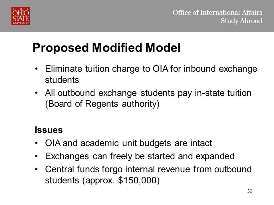 Office of International Affairs Study Abroad Proposed Modified Model Eliminate tuition charge to OIA for inbound exchange students All outbound exchange students pay in-state tuition (Board of Regents authority) Issues OIA and academic unit budgets are intact Exchanges can freely be started and expanded Central funds forgo internal revenue from outbound students (approx.