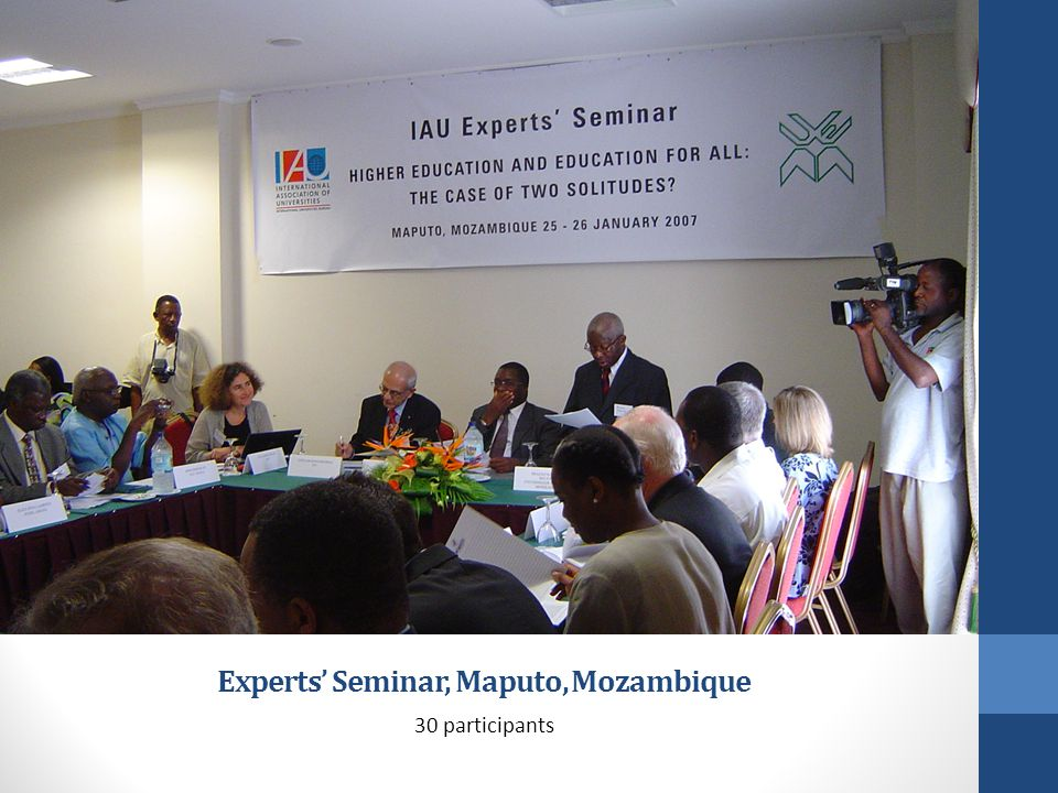 Experts Seminar, Maputo, Mozambique 30 participants