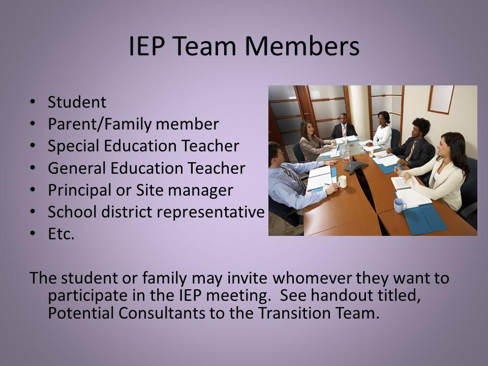 IEP Team Members Student Parent/Family member Special Education Teacher General Education Teacher Principal or Site manager School district representa