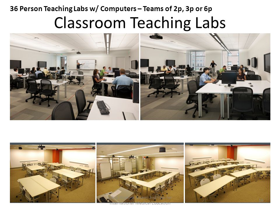 Classroom Teaching Labs 36 Person Teaching Labs w/ Computers – Teams of 2p, 3p or 6p Johns Hopkins Swami Institute for International Medical Education