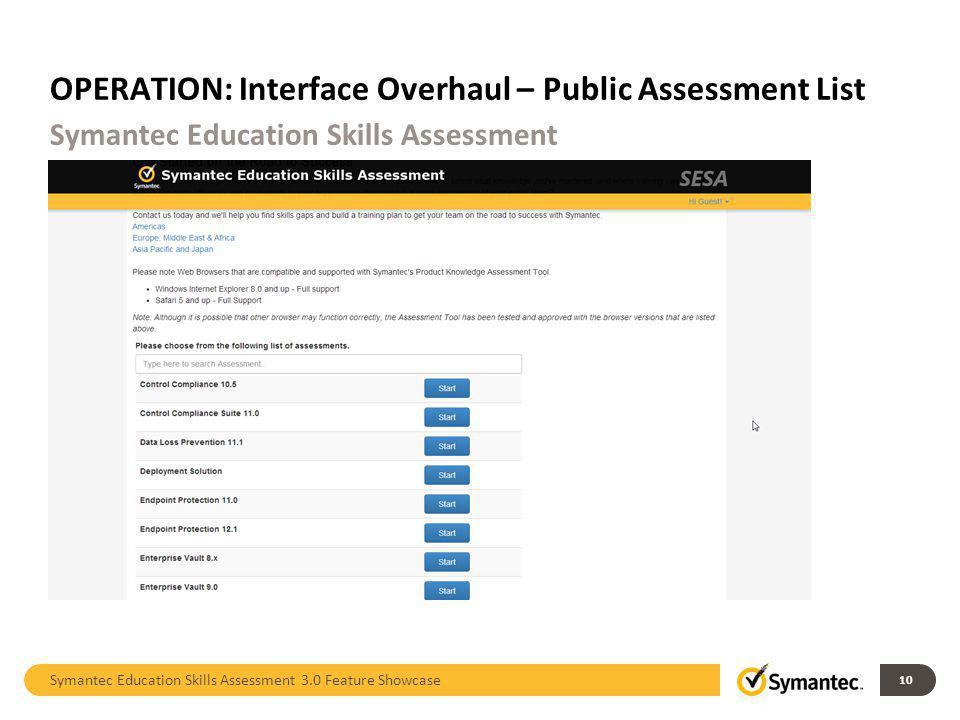 OPERATION: Interface Overhaul – Public Assessment List Symantec Education Skills Assessment 3.0 Feature Showcase 10 Symantec Education Skills Assessme