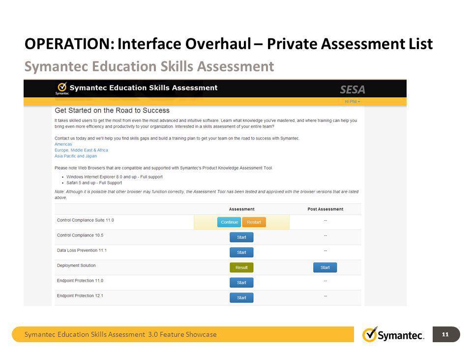 OPERATION: Interface Overhaul – Private Assessment List Symantec Education Skills Assessment 3.0 Feature Showcase 11 Symantec Education Skills Assessm