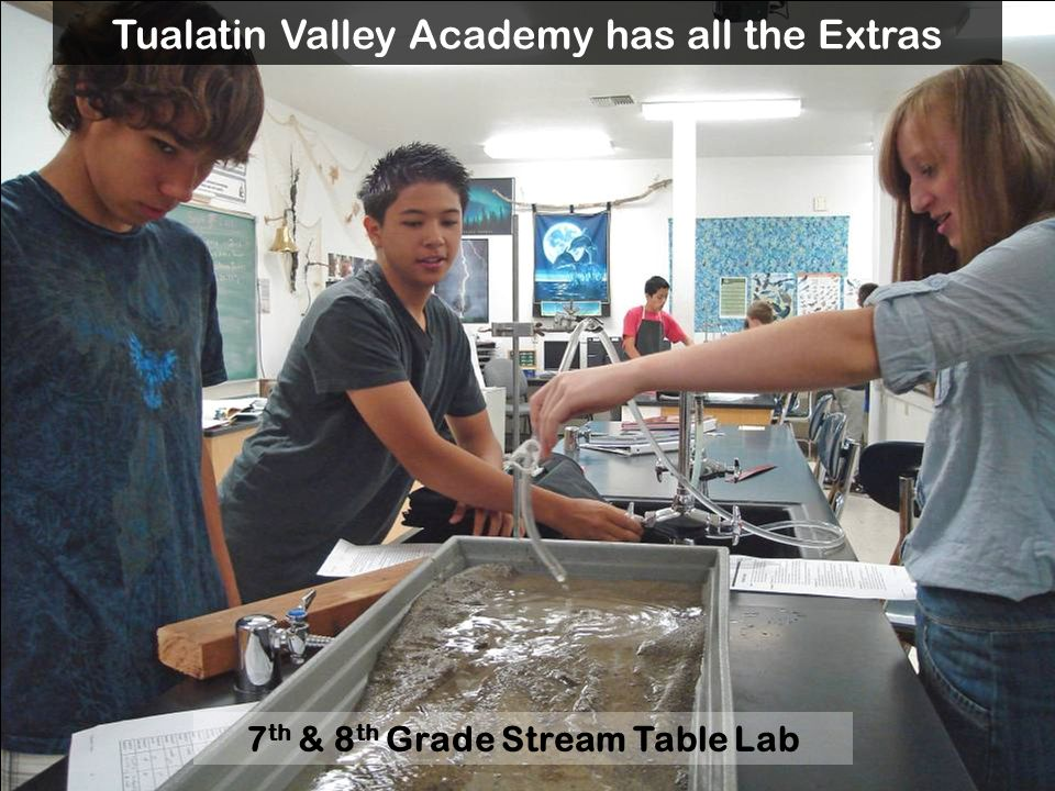 7 th & 8 th Grade Stream Table Lab Tualatin Valley Academy has all the Extras