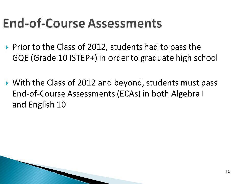 End-of-Course Assessments Prior to the Class of 2012, students had to pass the GQE (Grade 10 ISTEP+) in order to graduate high school With the Class of 2012 and beyond, students must pass End-of-Course Assessments (ECAs) in both Algebra I and English 10 10