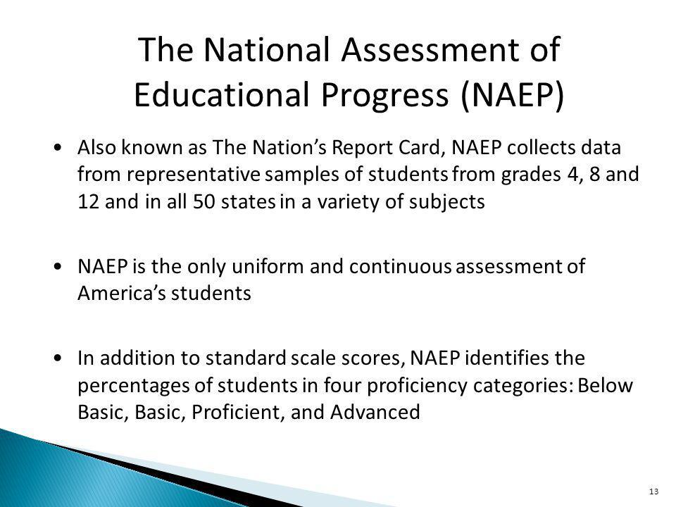 13 The National Assessment of Educational Progress (NAEP) Also known as The Nations Report Card, NAEP collects data from representative samples of students from grades 4, 8 and 12 and in all 50 states in a variety of subjects NAEP is the only uniform and continuous assessment of Americas students In addition to standard scale scores, NAEP identifies the percentages of students in four proficiency categories: Below Basic, Basic, Proficient, and Advanced