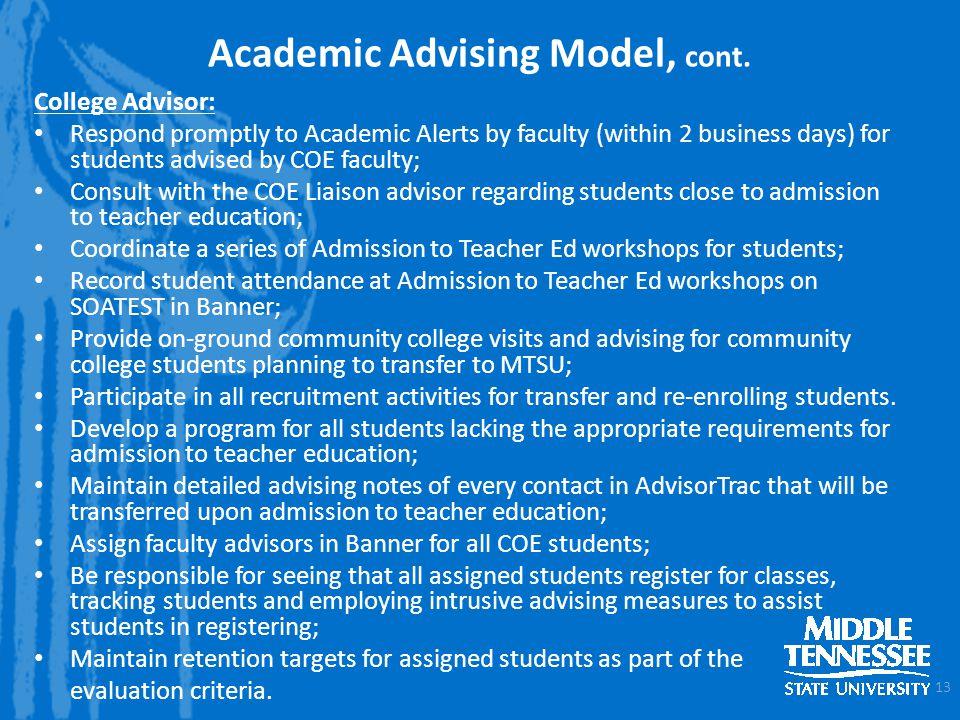 Academic Advising Model, cont.