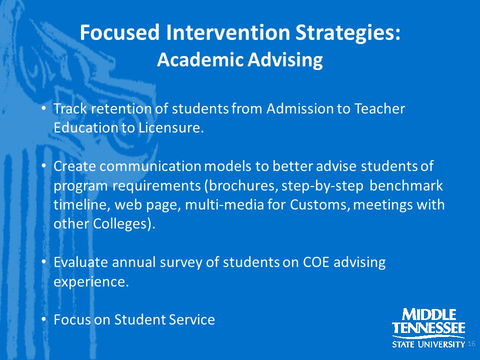 Track retention of students from Admission to Teacher Education to Licensure.