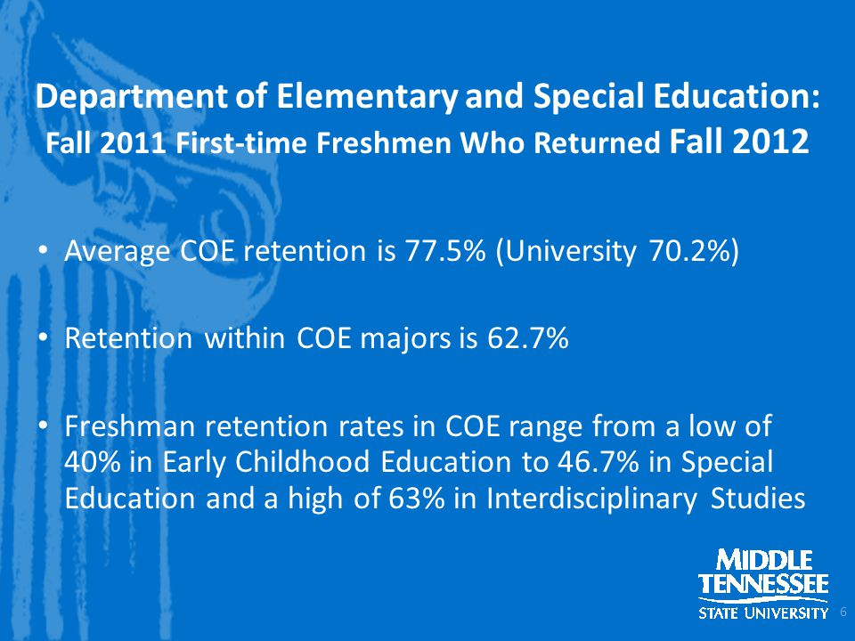 Department of Elementary and Special Education: Fall 2011 First-time Freshmen Who Returned Fall 2012 Average COE retention is 77.5% (University 70.2%) Retention within COE majors is 62.7% Freshman retention rates in COE range from a low of 40% in Early Childhood Education to 46.7% in Special Education and a high of 63% in Interdisciplinary Studies 6