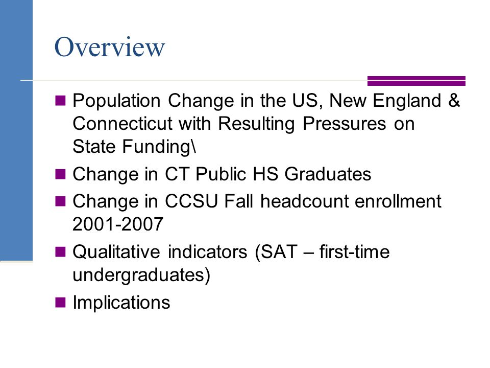 Overview Population Change in the US, New England & Connecticut with Resulting Pressures on State Funding\ Change in CT Public HS Graduates Change in CCSU Fall headcount enrollment Qualitative indicators (SAT – first-time undergraduates) Implications