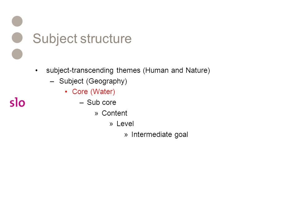 Subject structure subject-transcending themes (Human and Nature) –Subject (Geography) Core (Water) –Sub core »Content »Level »Intermediate goal