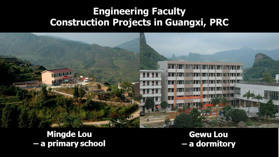 Engineering Faculty Construction Projects in Guangxi, PRC Mingde Lou – a primary school Gewu Lou – a dormitory