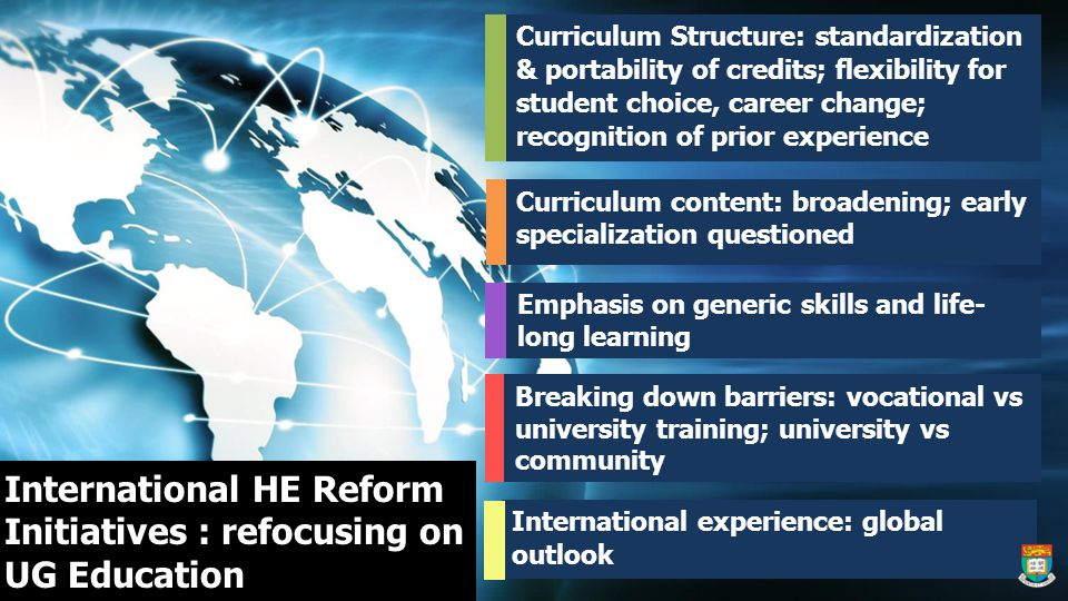 International HE Reform Initiatives : refocusing on UG Education Curriculum Structure: standardization & portability of credits; flexibility for student choice, career change; recognition of prior experience International experience: global outlook Curriculum content: broadening; early specialization questioned Breaking down barriers: vocational vs university training; university vs community Emphasis on generic skills and life- long learning