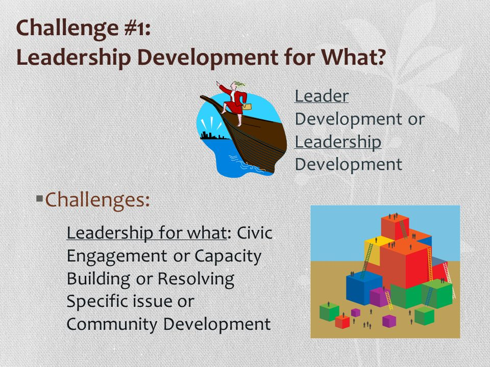 Challenge #1: Leadership Development for What.