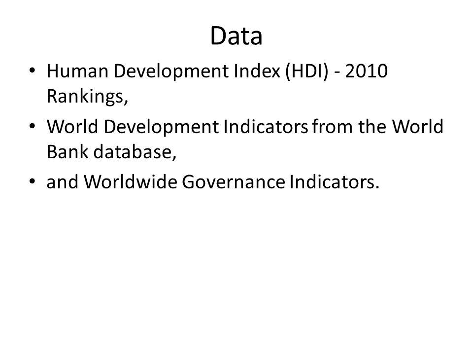 Data Human Development Index (HDI) - 2010 Rankings, World Development Indicators from the World Bank database, and Worldwide Governance Indicators.