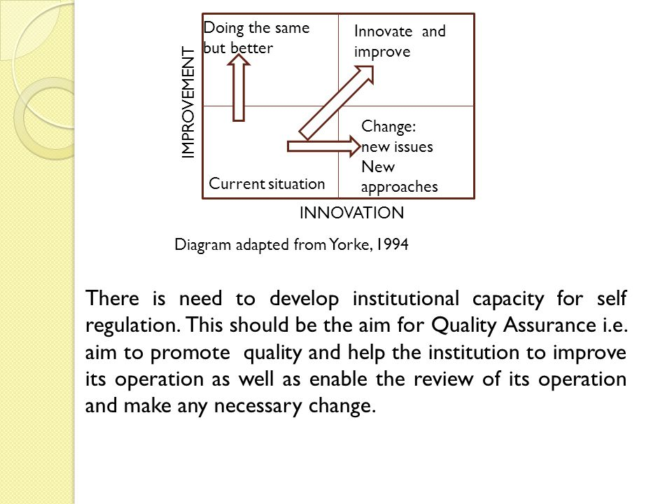 Doing the same but better Innovate and improve Change: new issues New approaches Current situation INNOVATION IMPROVEMENT Diagram adapted from Yorke, 1994 There is need to develop institutional capacity for self regulation.