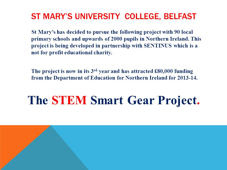 ST MARYS UNIVERSITY COLLEGE, BELFAST St Marys has decided to pursue the following project with 90 local primary schools and upwards of 2000 pupils in