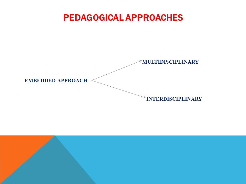 PEDAGOGICAL APPROACHES MULTIDISCIPLINARY EMBEDDED APPROACH INTERDISCIPLINARY