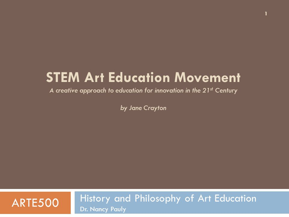 Current STEM Arts programs and philosophies in the United States 12 Science, Technology, Engineering, Arts and Math (STEAM)STEAM Technology, Engineering, Arts, Math and Science (TEAMS) STEM+Arts: Creating hybrids: disovling boundaries between Art, Science and Technology.