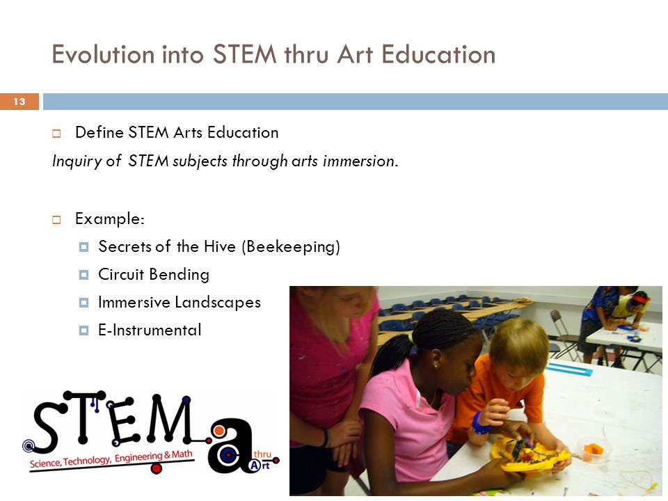Evolution into STEM thru Art Education 13 Define STEM Arts Education Inquiry of STEM subjects through arts immersion.