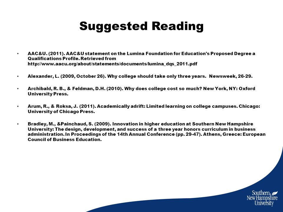 Suggested Reading AAC&U. (2011).