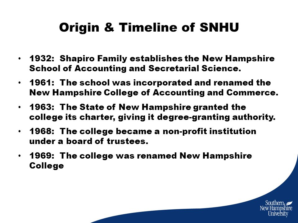 Origin & Timeline of SNHU 1932: Shapiro Family establishes the New Hampshire School of Accounting and Secretarial Science.