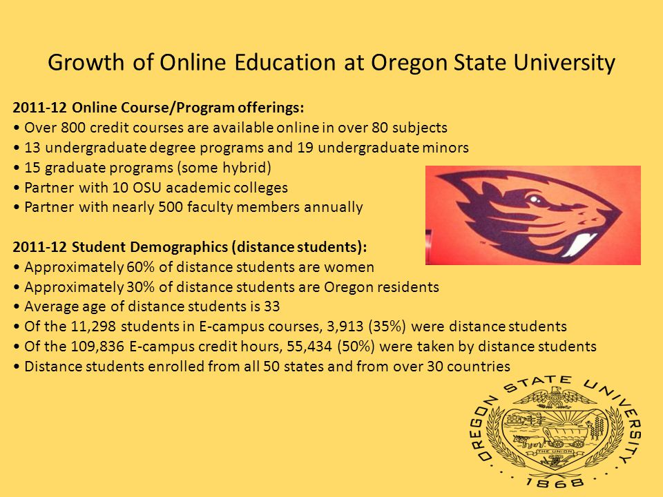 Growth of Online Education at Oregon State University Online Course/Program offerings: Over 800 credit courses are available online in over 80 subjects 13 undergraduate degree programs and 19 undergraduate minors 15 graduate programs (some hybrid) Partner with 10 OSU academic colleges Partner with nearly 500 faculty members annually Student Demographics (distance students): Approximately 60% of distance students are women Approximately 30% of distance students are Oregon residents Average age of distance students is 33 Of the 11,298 students in E-campus courses, 3,913 (35%) were distance students Of the 109,836 E-campus credit hours, 55,434 (50%) were taken by distance students Distance students enrolled from all 50 states and from over 30 countries