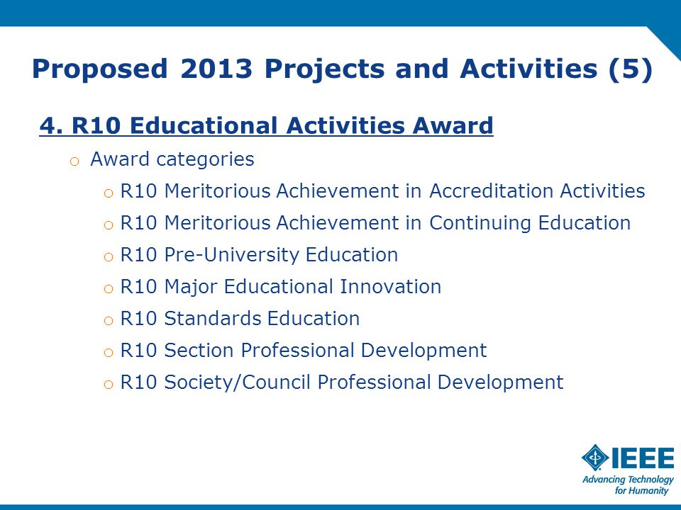 Proposed 2013 Projects and Activities (5) 4.