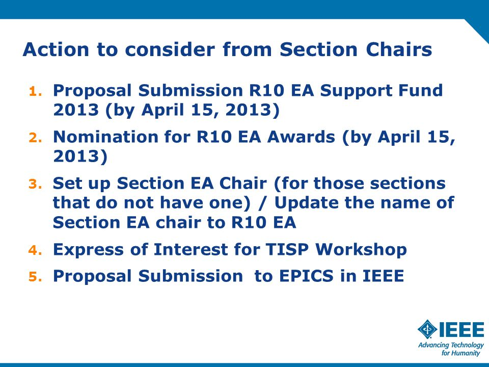 Action to consider from Section Chairs 1.