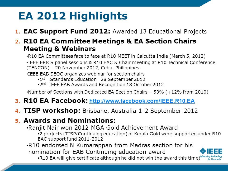 EA 2012 Highlights 1.EAC Support Fund 2012: Awarded 13 Educational Projects 2.