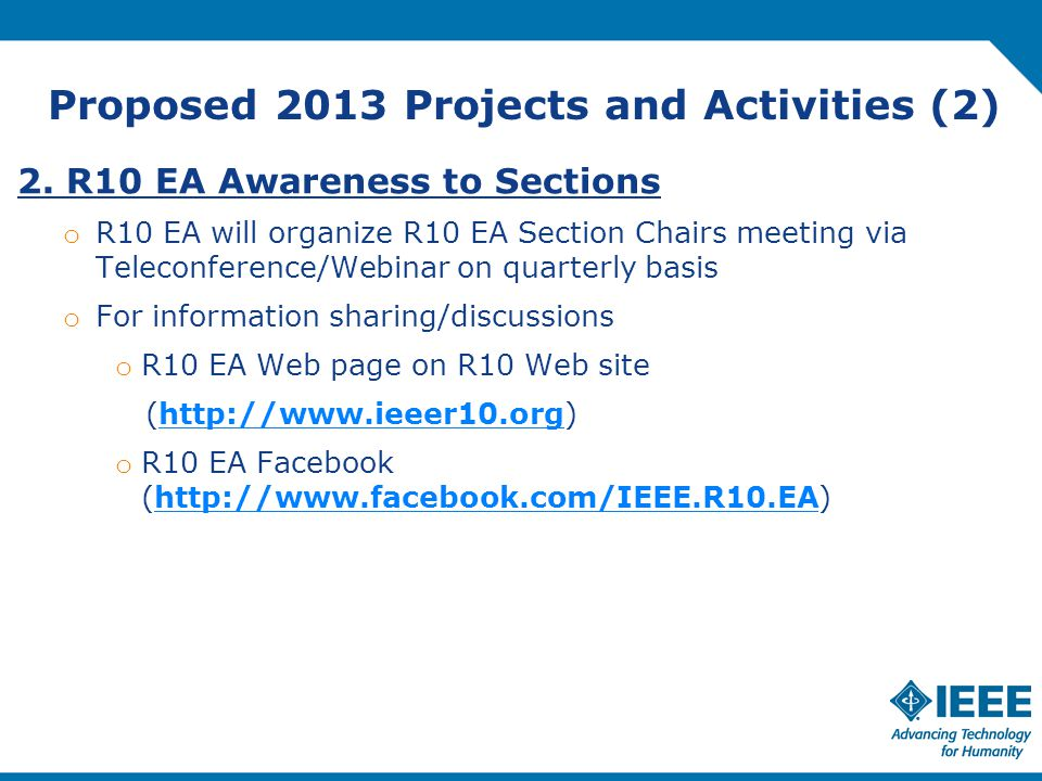 Proposed 2013 Projects and Activities (2) 2.